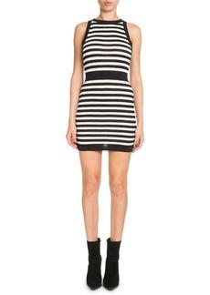Balmain Striped Sleeveless Mini Dress