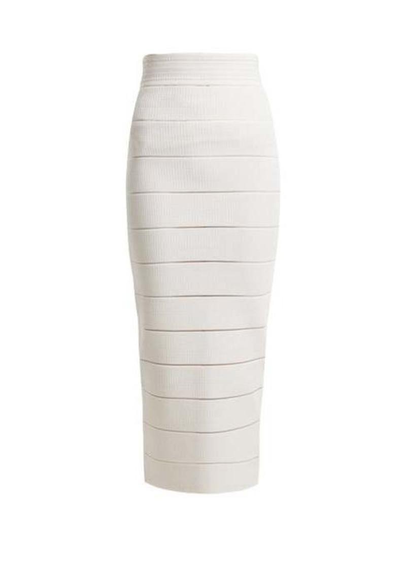 Balmain Striped stretch-knit midi skirt