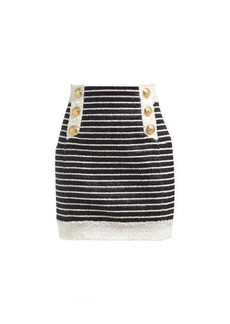 Balmain Striped tweed mini skirt