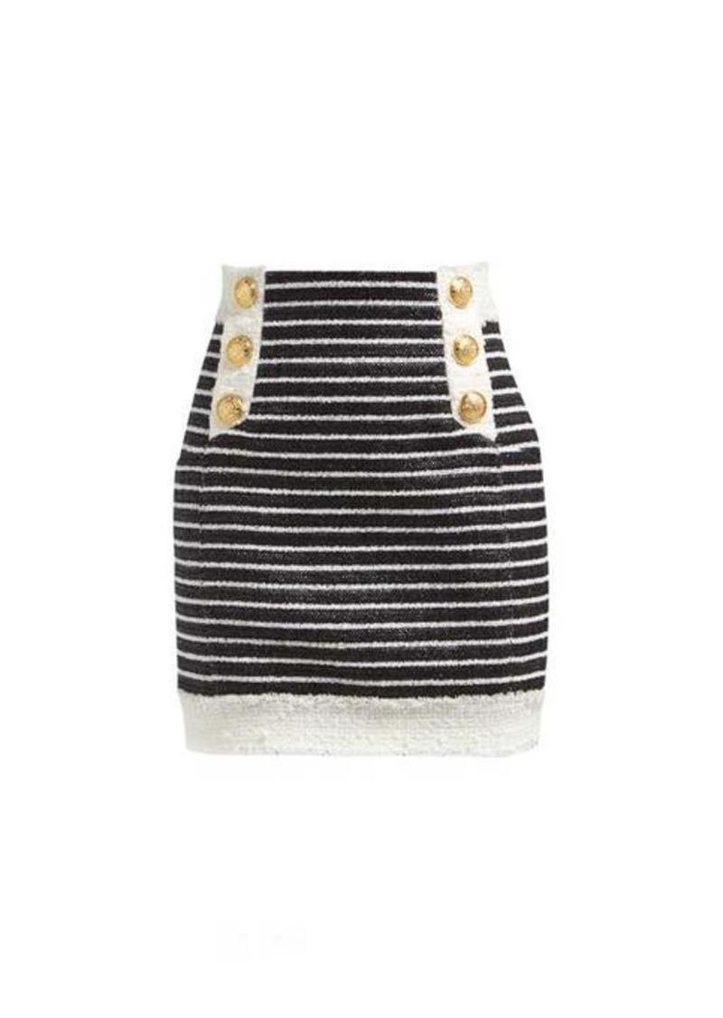 Balmain Striped tweed mini skirt
