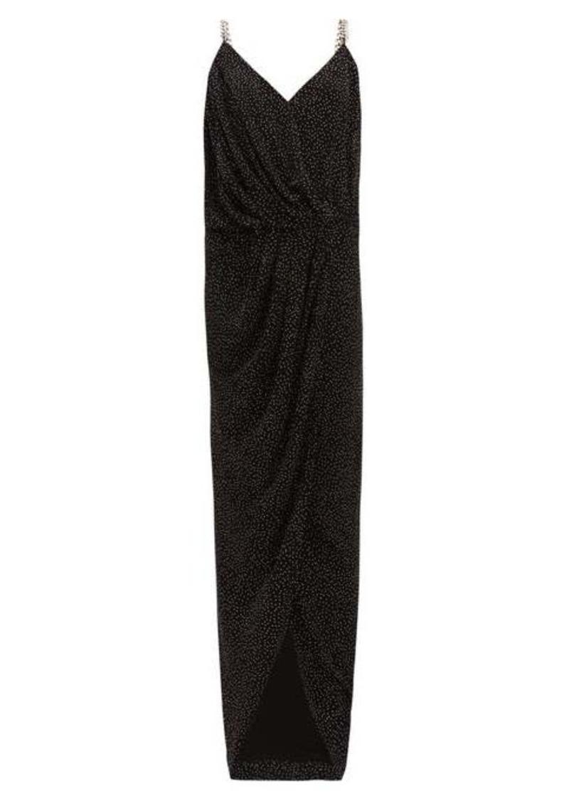 Balmain Studded chain-strap crepe maxi dress