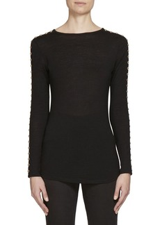 Balmain Studded Sleeve Jersey-Knit Wool Top