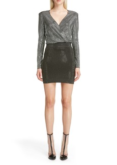 Balmain Studded Surplice Minidress