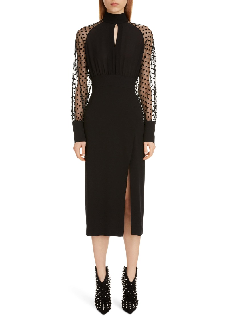Balmain Swiss Dot & Crepe Long Sleeve Midi Dress