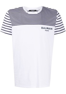 Balmain stripe panel cotton T-shirt