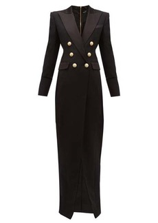 Balmain Tailored slit-front wool-crepe gown