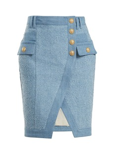 Balmain Textured-denim mini skirt