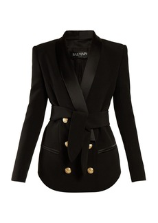 Balmain Tie-waist double-breasted blazer
