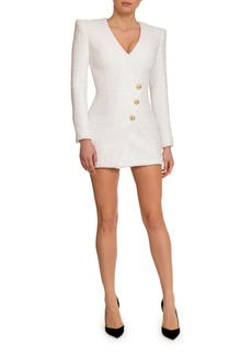 Balmain Tweed 3-Button Wrapped Mini Dress