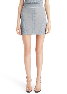 Balmain Tweed Effect Knit Miniskirt