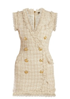 Balmain Tweed frayed-edge mini dress
