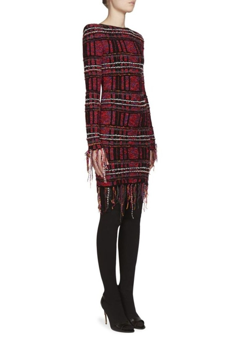 Balmain Tweed Knit Fringed Plaid Dress