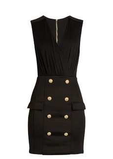 Balmain V-neck button-embellished jersey dress