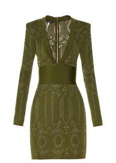 Balmain V-neck lace-knit dress