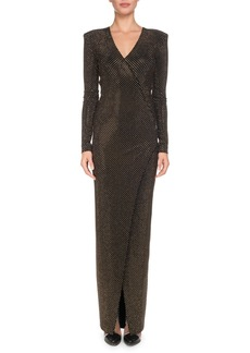 Balmain V-Neck Long-Sleeve Strass Wrap Evening Gown