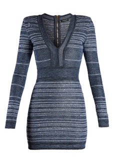 Balmain V-neck striped stretch-knit mini dress