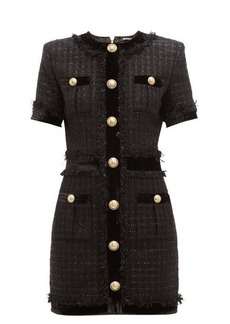 Balmain Velvet-trim metallic-tweed mini dress
