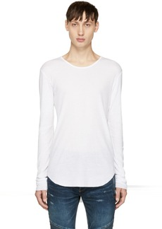 Balmain White Long Sleeve Ribbed T-Shirt