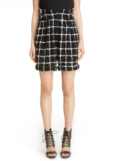 Balmain Windowpane Check Bouclé Shorts