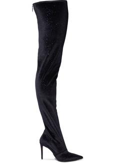 Balmain Woman Amazone Glittered Stretch-velvet Thigh Boots Midnight Blue