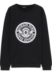 Balmain Woman Appliquéd French Cotton-terry Sweatshirt Black