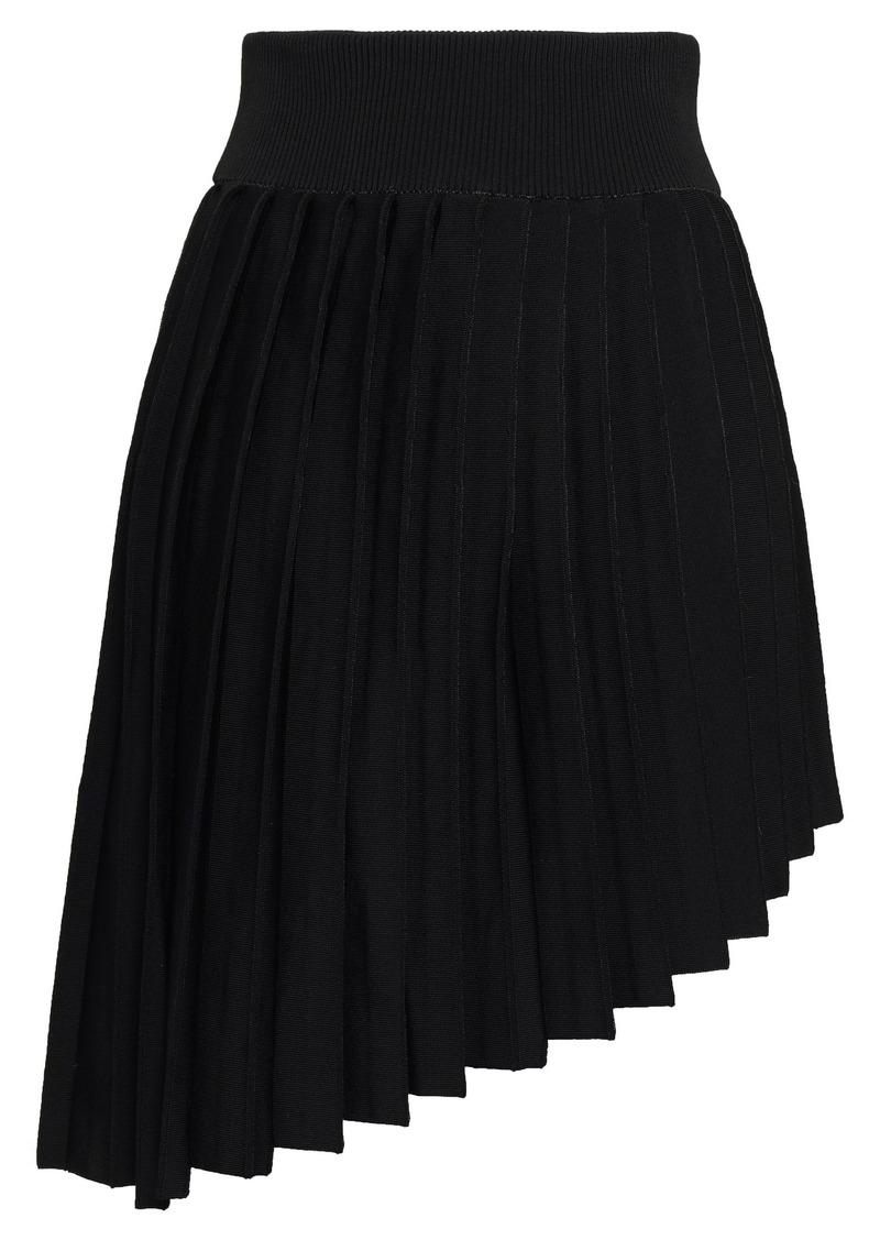 Balmain Woman Asymmetric Pleated Ponte Mini Skirt Black