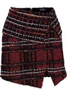 Balmain Woman Asymmetric Tinsel-trimmed Bouclé-tweed Mini Skirt Claret