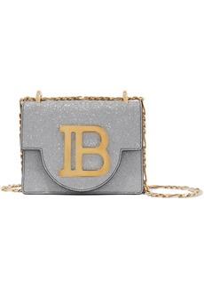 Balmain Woman B Bag 21 Glittered Leather Shoulder Bag Silver