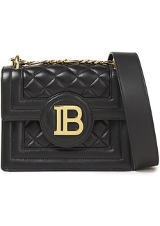 Balmain Woman B Bag Quilted Leather Shoulder Bag Black