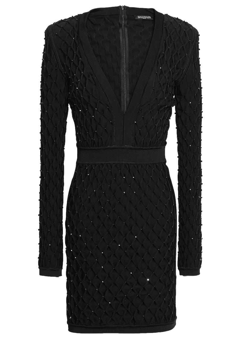 Balmain Woman Bead-embellished Smocked Stretch-knit Mini Dress Black