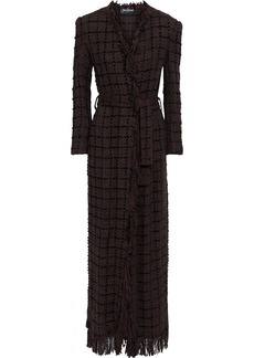 Balmain Woman Belted Frayed Bouclé-tweed Coat Chocolate