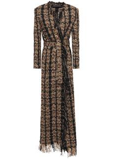 Balmain Woman Belted Frayed Metallic Tweed Coat Light Brown