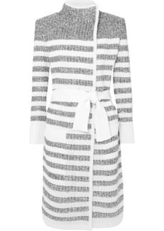 Balmain Woman Belted Striped Metallic Knitted Cardigan White