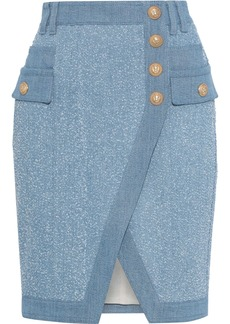 Balmain Woman Button-detailed Bouclé Denim Mini Skirt Light Denim