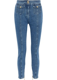 Balmain Woman Button-detailed High-rise Skinny Jeans Light Denim