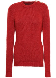 Balmain Woman Button-detailed Knitted Sweater Red