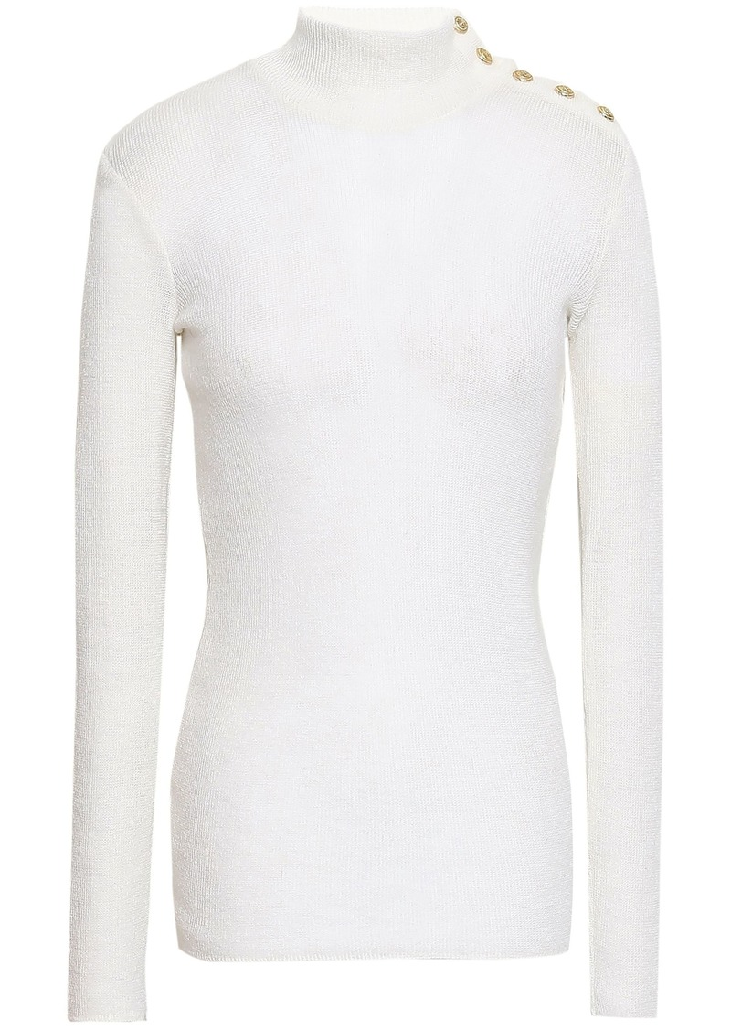 Balmain Woman Button-detailed Knitted Top Ivory