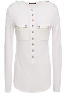 Balmain Woman Button-detailed Wool And Cashmere-blend Top Ivory