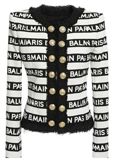 Balmain Woman Button-embellished Logo-print Cotton-blend Canvas Jacket Ivory