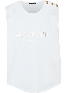 Balmain Woman Button-embellished Metallic Printed Cotton-jersey Tank White