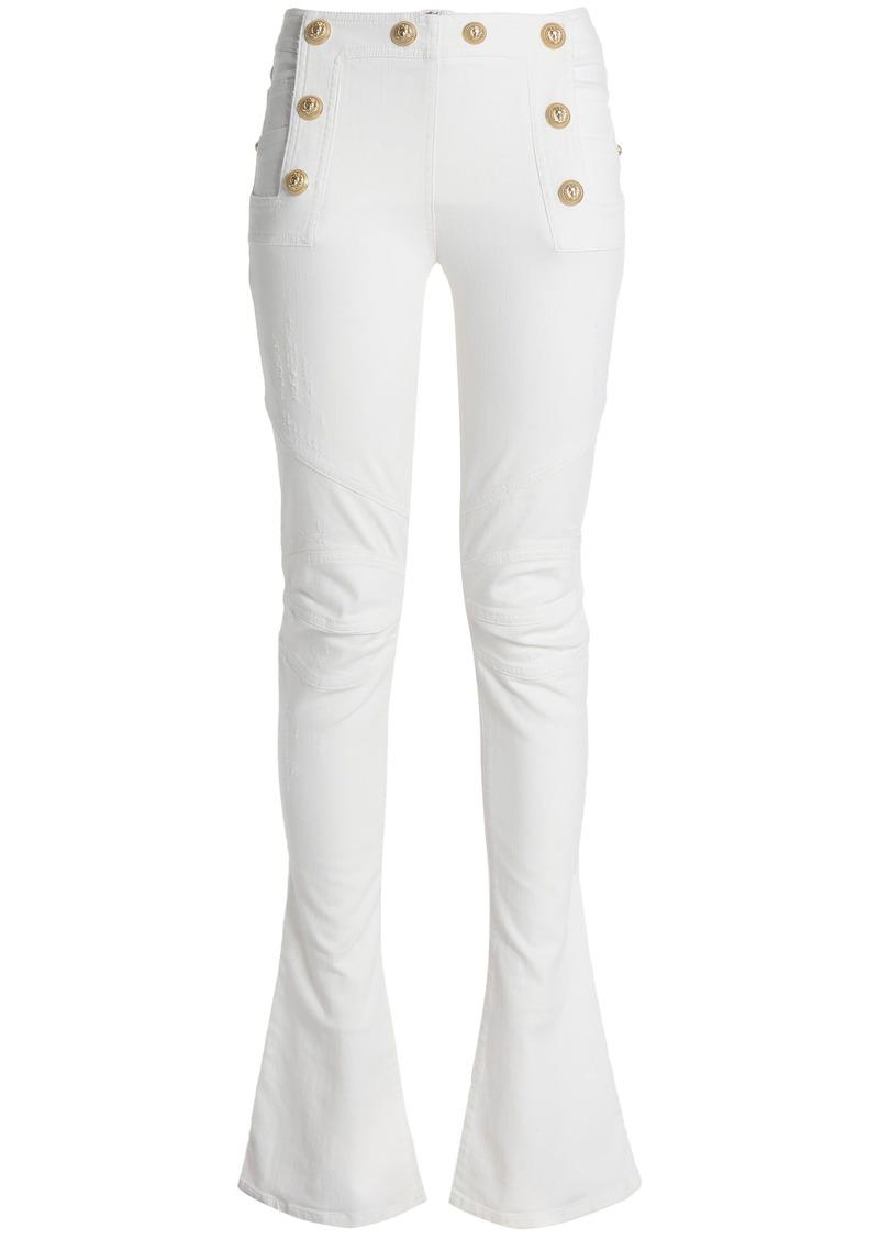 Balmain Woman Button-embellished Mid-rise Bootcut Jeans White