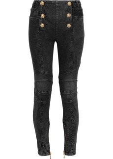 Balmain Woman Button-embellished Mid-rise Skinny Jeans Dark Denim