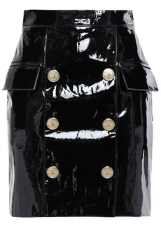Balmain Woman Button-embellished Patent-leather Mini Skirt Black