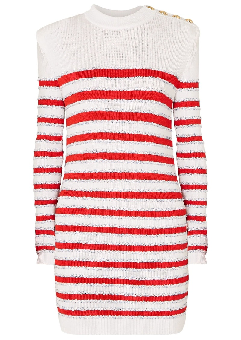 Balmain Woman Button-embellished Sequined Striped Stretch-knit Mini Dress White