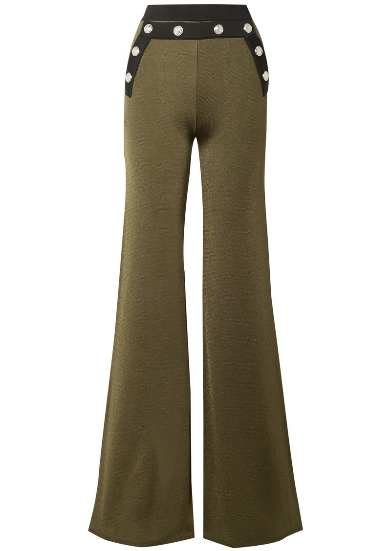 Balmain Woman Button-embellished Stretch-knit Flared Pants Army Green
