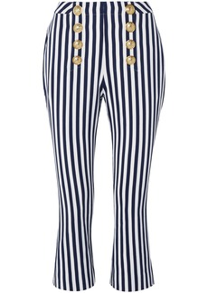 Balmain Woman Button-embellished Striped Cotton-twill Kick-flare Pants Navy