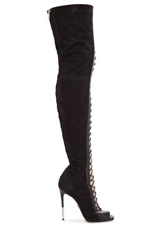Balmain Woman Campbell Lace-up Leather Thigh Boots Black