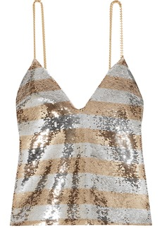 Balmain Woman Chain-embellished Striped Sequined Crepe Camisole Silver
