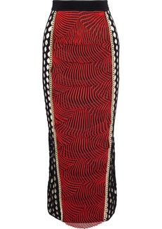 Balmain Woman Chain-trimmed Layered Embroidered Tulle Midi Skirt Tomato Red