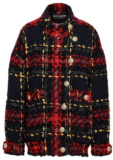 Balmain Woman Checked Wool-blend Tweed Jacket Midnight Blue